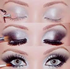 Resultado de imagen para maquillaje de ojos plateado con brillo