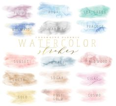 watercolor brush strokes clipart by freshmint paperie on @creativemarket