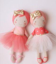 Handmade ballerina doll with blush felt hair white tulle por blita