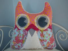 Minky and Floral  Bari J Vintage Style Owl by LovieBirds on Etsy, $30.00