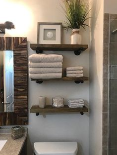 bathroom shelves One Deep Industrial Floating Shelf, Rustic Shelf, Pipe Shelf. The stain used will give it that quot; look that is so popular now. I will customize and make the shelves as long or as short as you need them to fit your space. Industrial Floating Shelves, Floating Shelves Diy, Rustic Shelves, Rustic Bathroom Shelves, Pallet Shelf Bathroom, Decorating With Floating Shelves, Wood And Pipe Shelves, Farmhouse Shelving, Decorative Shelves