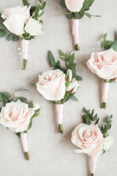 Audrey Rose Photography with Courtney Inghram Virginia Wedding Floral Designer at the Historic Post Office Wedding with blush and white boutonnieres for groomsmen with rose and eucalyptus greenery, blush silk ribbon. Blush and white Virginia wedding with floral design by Courtney Inghram. Rose boutonniere. Blush rose boutonniere. June summer white and romantic blush wedding. Wedding boutonniere in blush.