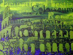 Colosseum in green. Het is acrylverf op canvas. Het formaat is  40x30 cm en het is nog te koop.