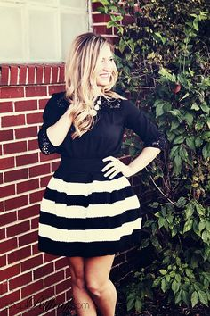 SEEING STRIPES We're making a statement today with our Blair Striped bubble skirt! The bold black and white stripes demand attention, but then can be paired with any color on top. We opted for a simple black crochet top on Caroline, but don't be afraid to wear brights with your skirt as well! Shop this look today on www.shopriffraff.com.