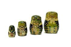 Russian Nesting Dolls. Frog Figure Matryoshka Dolls. Frog Babushka Doll. Soviet Toy.