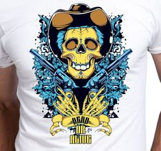 T Shirt Dead or Alive Skull with Gun Wild West Gunman Wanted sheriff on the Wilde West by ProjektyKoszulki on Etsy