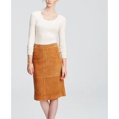 Ann Taylor Suede Midi Skirt ($195) ❤ liked on Polyvore featuring skirts, praline brown, mid-calf skirt, calf length skirts, white knee length skirt, brown suede skirt and long brown skirt