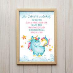 Bilder - Leben Ist Zauberhaft, Einhorn Spruch, Kunstdruck - ein Designerstück von ColorfulCloud bei DaWanda