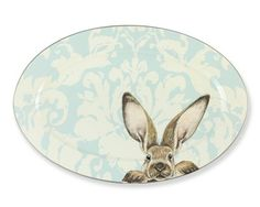 Damask Easter Bunny Platter @ Williams Sonoma. Love love love. Tempted to rub his nose.