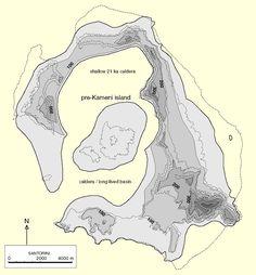 Geological Reconstruction of Pre-Eruption Minoan Thera   Druitt and Francaviglia, 1992   Santorini (Thera), Greece   Courtesy: Tom Pfeiffer - www.decadevolcano.net **