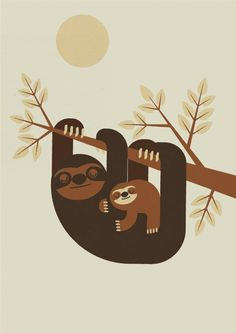 Personalised Retro Sloth and Baby Print Wall Art Home by Nextline