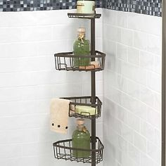 Zenna Home Tub And Shower Tension Pole Caddy With 3 Shelf And 1