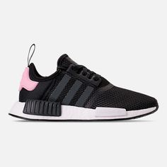 Right view of Women's adidas NMD Casual Shoes in Core Black/White/Clear Pink Black Adidas Shoes, Adidas Shoes Women, Pink Adidas, Adidas Nmd Women, Adidas Nmd Outfit, Adidas Nmd R1, Adidas Originals, Black Pink, Splendid Shoes