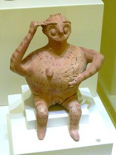 Rhyton in form of a pregnant woman. 1300-1200 B.C. Found in Gournia, Crete.