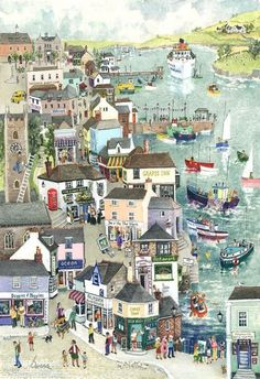 """""""Street through Falmouth"""" Original Painting by Serena, Cornish Naive Artist. Available as open edition prints and blank art-cards. Artist Painting, Painting & Drawing, Illustrations, Illustration Art, St Just, Arte Popular, Naive Art, Landscape Art, Folk Art"""