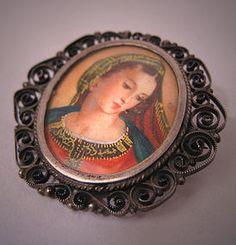 Antique Painted Portrait Pendant Pin Silver Renaissance