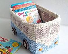 Baby Boy Room Decor, Baby Boy Rooms, Nursery Decor, Crochet Car, Crochet Toys, Baby Boy Gifts, Gifts For Boys, Retro Bus, Toy Storage Baskets