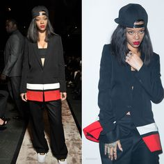 Rihanna wearing Givenchy and Riccardo Tisci for Nike Air Force 1 sneakers.