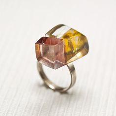 Glass sterling silver ring Prismes06 by belnavarro on Etsy, $89.00
