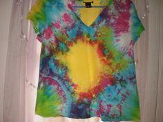 Short sleeve tie dye sun explosion shirt by NereidasNiftyThreads, $15.00