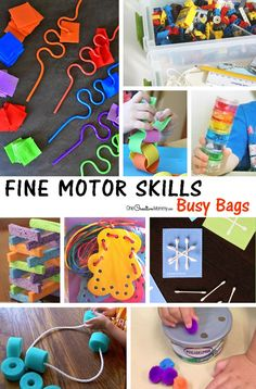 Love these busy bags! Lots of ideas for helping kids develop fine motor skills {OneCreativeMommy.com}