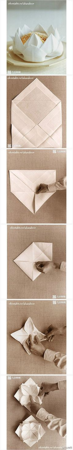 Linen napkin origami flower bowl for bread or chips or candies Origami Paper Art, Diy Paper, Lotus Origami, Origami Flower, Diy And Crafts, Arts And Crafts, Paper Folding, Diy Projects To Try, Kirigami