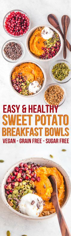 Fluffy Sweet Potato Breakfast Bowls - Vegan & Grain Free - From My Bowl