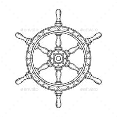 Buy Illustration of an Old Nautical Wooden Wheel by vectorpocket on GraphicRiver. Vector illustration of an old nautical wooden steering wheel on a white background. Print for T-shirts. Helm Tattoo, Compass Tattoo, Leg Tattoos, Cool Tattoos, Ship Wheel Tattoo, Wooden Wheel, Neo Traditional Tattoo, Design Patterns, Sailboat