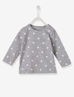 T-shirt bébé fille Blanc+Gris clair chiné avec pois+Marine+Rose grisé - vertbaudet enfant