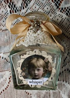altered art bottle,  beautiful!