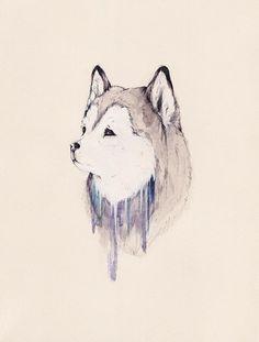 Husky Print by Sarah McNeil