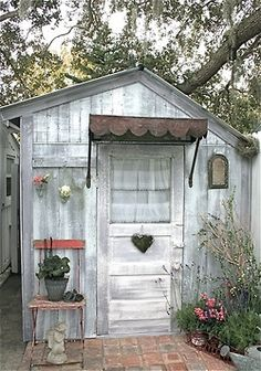"cute idea for a potting shed, a guest ""house"", or a fun little girlie getaway for me in my own backyard!"