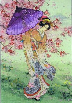 Yumezakura, A spring breeze catches the folds of a hand-painted kimono and sways the branches of the cherry tree in this portrait of loveliness. Counted cross-stitch kit, based on the artwork of Haruyo Morita