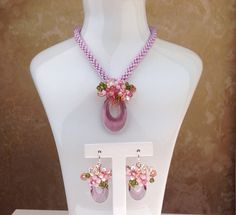Kumihimo crystal jewellery handmade using Swarovski by PastelGems, £76.00