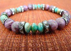 Stretch Bracelet  Purple Ocean Fossil by BeJeweledByCandi on Etsy, $32.00
