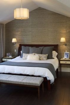 In an ideal world this would be my master bedroom. The grasscloth, the lamps, everything. I love!