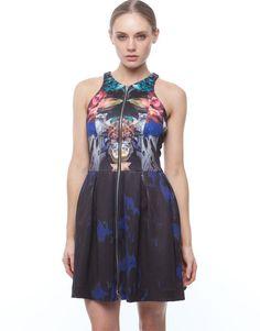 NICHOLAS 'Digi Floral Scuba' Zip Front Dress