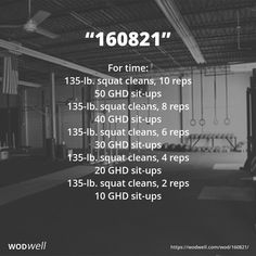 """160821"" WOD - For time:: 135-lb. squat cleans, 10 reps; 50 GHD sit-ups; 135-lb. squat cleans, 8 reps; 40 GHD sit-ups; 135-lb. squat cleans, 6 reps; 30 GHD sit-ups; 135-lb. squat cleans, 4 reps; 20 GHD sit-ups; 135-lb. squat cleans, 2 reps; 10 GHD sit-ups"