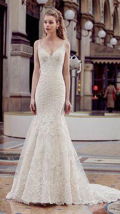 eddy k milano bridal 2017 sleeveless beaded straps vneck fit flare wedding dress (md203) mv train