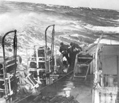 HMCS Swansea in rough seas, during the Battle of the Atlantic, January 1944. (National Archives of Canada PA 116839)