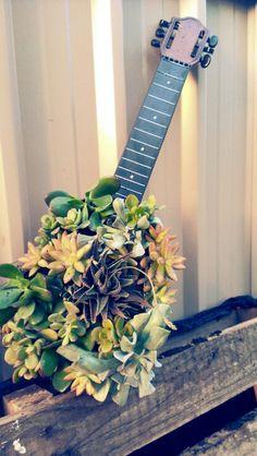 Succulent guitar Garden Planters, Indoor Garden, Outdoor Gardens, Mini Gardens, Succulent Arrangements, Planting Succulents, Container Plants, Plant Containers, Wedding Props