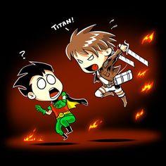 نتیجه تصویری برای teen titan vs attack on titan