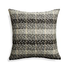 """Shop Ellsa 20"""" Pillow.  The Ellsa pillow's modern plaid gets a dose of texture and a lot of tonal play out of black and white.  A jacquard weave combines fine yarns and high-twist slub yarns, reversing to a textural weave with dashes of color."""