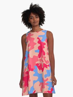 'Pastel Camouflage Pattern Cute Pink Purple Green Yellow ' A-Line Dress by funnylifeusa Pink A Line Dress, I Dress, Pulp Fiction, Cute Pink, Pretty In Pink, Brighton, Teal And Pink, Yellow, Blue Feather