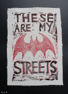 """These are MY Streets Patch Batwoman by albinwonderland on Etsy, $7.13 --   """"The bat they shine in the sky… civilians think it's a call for help. The bad guys think it's a warning. But it's more than that. It's something higher. It's a call to arms… I've found my way to serve."""""""