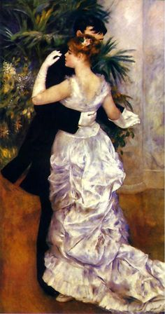 """""""Dance in the City"""" by Pierre-Auguste Renoir.    .He was born in Limoges, Haute-Vienne, France, the child of a working class family. Around 1892, Renoir developed rheumatoid arthritis. In the advanced stages of his arthritis, he painted by having a brush strapped to his paralyzed fingers. In 1919, Renoir visited the Louvre to see his paintings hanging with the old masters. He died in the village of Cagnes-sur-Mer, Provence-Alpes-Côte d'Azur, on December 3."""
