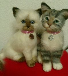 """two kittens i have just finished felting, Coco and Sophie 6 and 6.5"""" , glass eyes"""