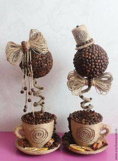 ideas for the home - Other decoration - Jute Crafts, Diy And Crafts, Arts And Crafts, Coffee Bean Art, Coffee Beans, Floating Tea Cup, Decoration Shabby, Deco Champetre, Christmas Crafts