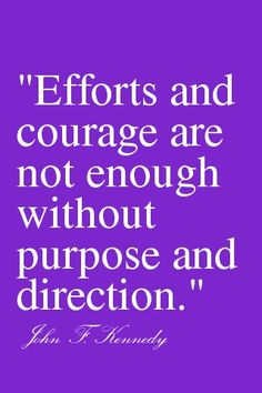 #Inspiration | Efforts and courage are not enough without purpose and direction. -JFK
