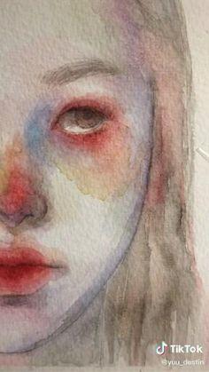Watercolor Art Face, Watercolor Art Lessons, Watercolor Portraits, Easy Portrait Drawing, Portrait Art, Art Painting Gallery, Arte Sketchbook, Painting People, Art Drawings Sketches Simple